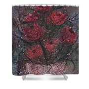 Roses At Night Gothic Surreal Modern Painting Poster Print Shower Curtain