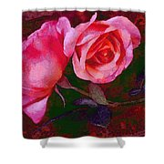 Roses Beautiful Pink Vegged Out Shower Curtain