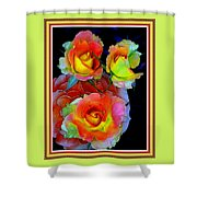 Roses For Anne Catus 1 No. 3 V B With Decorative Ornate Printed Frame. Shower Curtain