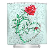 Roses Hearts And Lace Flowers Design  Shower Curtain