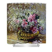 Roses In A Copper Vase Shower Curtain by Claude Monet