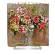 Roses In A Sevres Vase Shower Curtain by Pierre Auguste Renoir