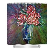 Roses In A Vase Shower Curtain
