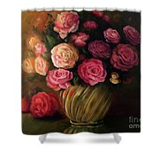 Roses In Brass Bowl Shower Curtain