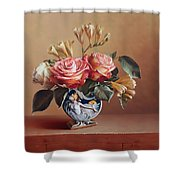 Roses In China Vase Shower Curtain