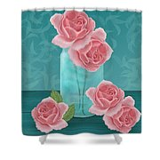 Roses In Clear Blue Jar Shower Curtain