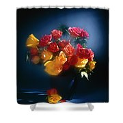 Roses In The Blue Shower Curtain