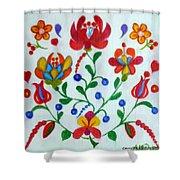 Roses In The Folk Style Shower Curtain