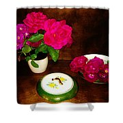 Roses In Vase And Bowl Shower Curtain