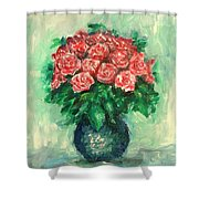 Roses Oil Painting  Shower Curtain