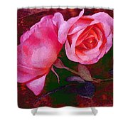 Roses Silked Pink Vegged Out Shower Curtain