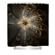 Rosette In Gold And Silver Shower Curtain