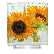 Rosezella's Sunflowers Shower Curtain