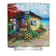 Rosies Beach Cafe Shower Curtain