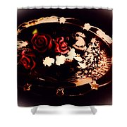 Rosses On A Flowing Dish Shower Curtain