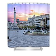 Rossio Square In Lisbon Portugal At Sunset Shower Curtain