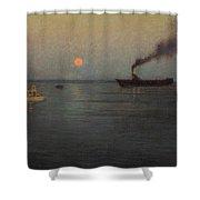 Rosy Moon Off Charleston Harbor Shower Curtain
