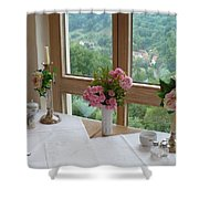Rothenburg Dining With A View Shower Curtain