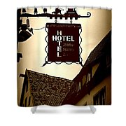 Rothenburg Hotel Sign - Digital Shower Curtain