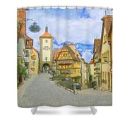 Rothenburg Watercolor Study Shower Curtain