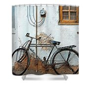 Rough Bike Shower Curtain by Robert Meanor
