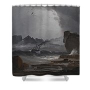 Rough Sea With A Steamer Near The Coast Of Norway Shower Curtain