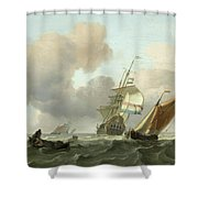 Rough Sea With Ships Shower Curtain