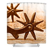 Rough Spurs - Sepia Shower Curtain