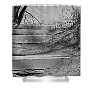 Rough Steps Up The Riverbank Shower Curtain