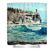 Rough Water At Split Rock Shower Curtain
