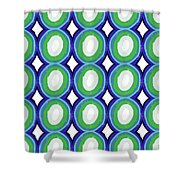 Round And Round Blue And Green- Art By Linda Woods Shower Curtain