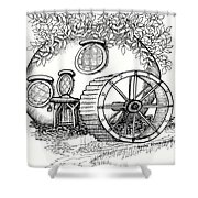 Round Fairy House And Waterwheet Shower Curtain