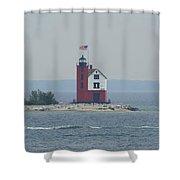 Round Island Lighthouse On A Foggy Day Shower Curtain