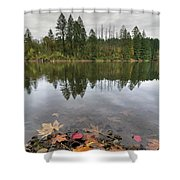 Round Lake At Lacamas Park In Fall Shower Curtain