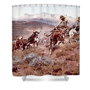 Round Up On The Musselshell  Shower Curtain