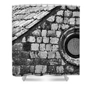 Round Window - Black And White Shower Curtain