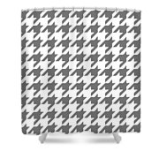 Rounded Houndstooth White Background 09-p0123 Shower Curtain