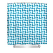 Rounded Houndstooth White Background 18-p0123 Shower Curtain
