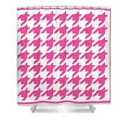 Rounded Houndstooth With Border In French Pink Shower Curtain