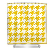 Rounded Houndstooth With Border In Mustard Shower Curtain