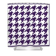 Rounded Houndstooth With Border In Purple Shower Curtain
