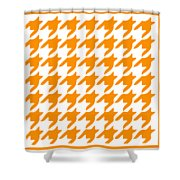 Rounded Houndstooth With Border In Tangerine Shower Curtain