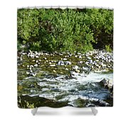 Rounded Rocks In A Rushing River Shower Curtain