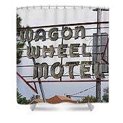 Route 66 - Wagon Wheel Motel Shower Curtain