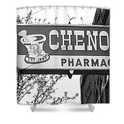 Route 66 - Chenoa Pharmacy Bw Shower Curtain