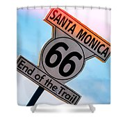 Route 66 End Of The Trail Shower Curtain by Michael Hope