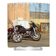 Route 66 - Grants New Mexico Motorcycles Shower Curtain