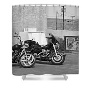 Route 66 Motorcycles Bw Shower Curtain