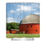 Route 66 Round Barn Shower Curtain