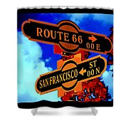 Route 66 Street Sign Stylized Colors Shower Curtain